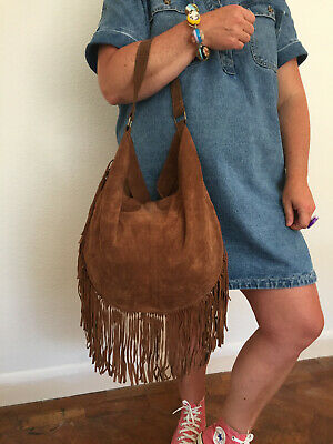 £39.99 • Buy Unbranded Highly Desirable Boho Hippie Hobo Aged Brown Suede Leather Fringed Bag