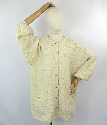 £34.99 • Buy Vintage Cream Rustic Cable Aran Hand Knit Wool Cardigan Sweater 2XL 22 Pockets