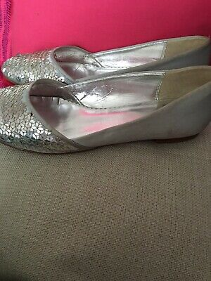 £4 • Buy Ladies Clark's Silver Occasion Flat Shoes Size 6 Party / Wedding