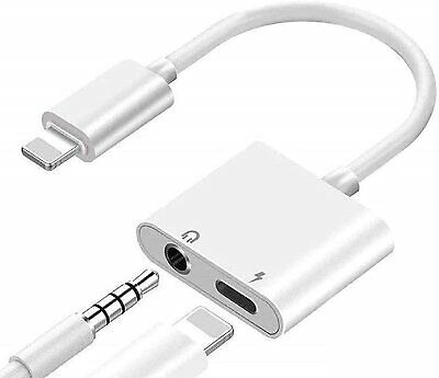 £3.99 • Buy 2in1 Adapter Splitter Audio Earphone AUX Charger For IPhone 7 8 11 12 X XS XR
