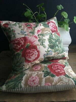 £39 • Buy Two Cottage Garden Room Cushions Cotton Floral Green Red Pillow Oblong Ticking