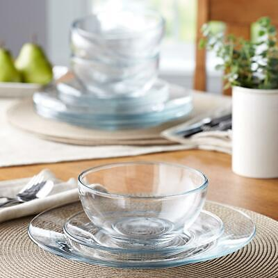 $41.81 • Buy Round Glass Dinnerware Set For 4 Servings Bowls Dinner & Salad Plates 12-Piece