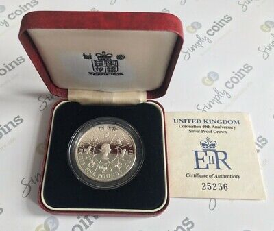 £29.50 • Buy 1993 Silver Proof Queens Coronation 1953  Five 5 Pound Coin Boxed COA