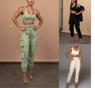 £19.95 • Buy Womens Ladies 2 Piece Crop Top And Cargo Joggers Co-Ord Set Winter Fashion