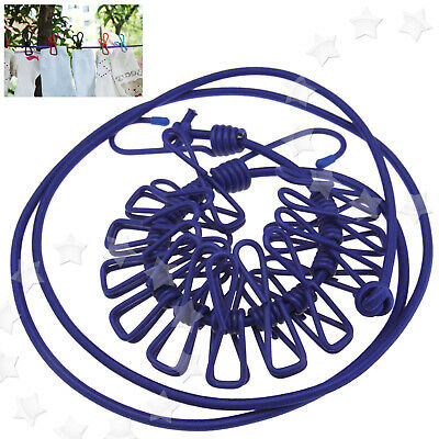 £7.85 • Buy 180cm Elastic Washing Clothes Line With 12 Pegs Clip Camping Caravan Travel Boat