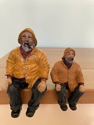 £6.25 • Buy Set Of 2 Old Fisherman Figurine Nautical Fishing Ornament Yellow Souwester Pipe