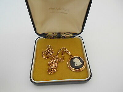 £29.99 • Buy Wedgwood 1970's Black Jasper Ware Gold Plated Mount Pendant Necklace Boxed