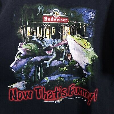 $ CDN71.68 • Buy VTG 1999 Budweiser Frogs Shirt XL Stand Back Watch This Funny TV Beer Promo Bud