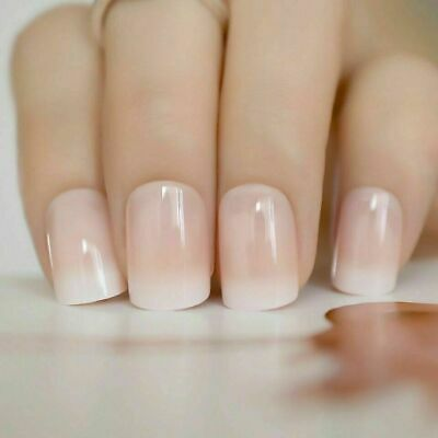 £3.99 • Buy 24 X French Manicure Full Cover Glue On Square Oval False Nails With 2g Glue