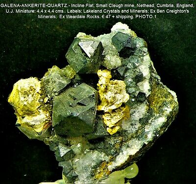 £39.61 • Buy GALENA-ANKERITE.Small Cleugh Mine,Cumbria,UK.Label:Lakeland Crystals And Mineral