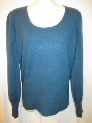 $16.95 • Buy U-Knit 100% Cashmere Teal Steel Blue Scoop Neck Sweater Missy L May Fit M