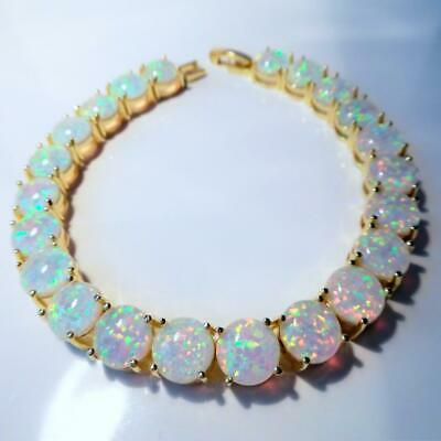 £49.99 • Buy EXQUISITE  WHITE   FIRE OPAL  YELLOW GOLD  TENNIS  BRACELET  7.5  To  8