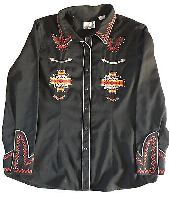 $40 • Buy Panhandle Western Wear Native American Embroidered Snap Button Shirt Size XXL