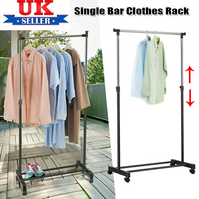 £9.29 • Buy Garment Rack Single  Adjustable Portable Clothes Hanging Rail Stand With Wheels