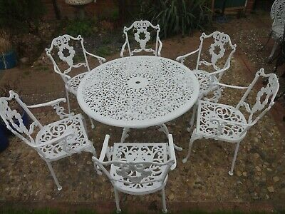£675 • Buy Large Garden Furniture Set - Table And 6 Chairs - Cast Aluminium