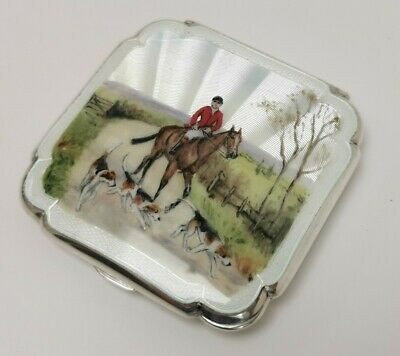 £470 • Buy Vtg 1951 Solid Sterling Silver Guilloche Enamel Hunting Horse Dog Ladies Compact