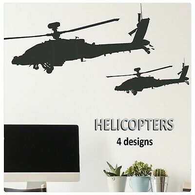 $12.50 • Buy Helicopter Wall Stickers Boys Vinyl Transfer Decals Military Apache Art Graphics