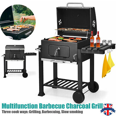 £99.99 • Buy Charcoal Smoker Bbq American Style Barbecue Grill Temp Gauge Covered Patio Cook