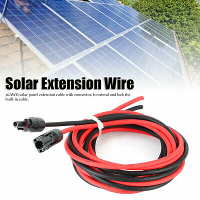 £15.03 • Buy 1 Pair Black & Red Solar Panel Extension Cable Wire Cord With Connector 10AWG