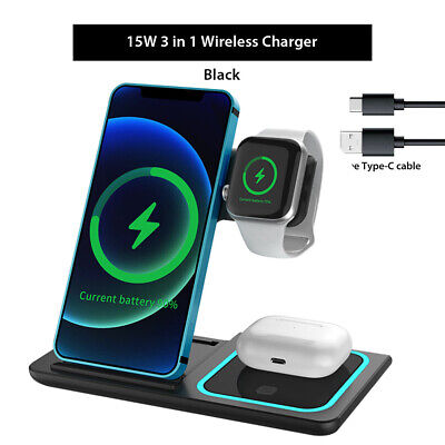AU38.68 • Buy 15W 3 In1 Wireless Charger Stand QI Fast Charging Dock For Airpods IPhone IWatch