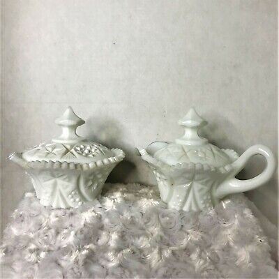 $29.99 • Buy Kemple Yutec Pattern Vintage White Milk Glass Creamer And Sugar Dish With Covers