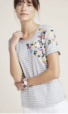 $ CDN26.14 • Buy Anthropologie Striped Floral Embroidered Cotton Short Sleeve Top Sz Small