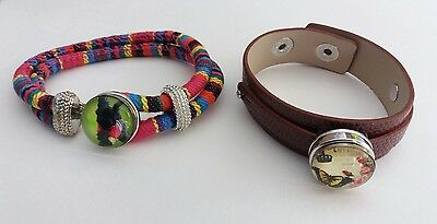£2.55 • Buy Empowering Jewelry 2 Bracelets Cabochon Dog Butterfly Brown Multicolored Indie