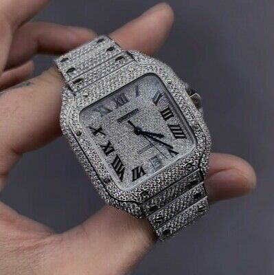 $20250 • Buy 40mm Cartier Santos Iced Out With VS2 Diamonds