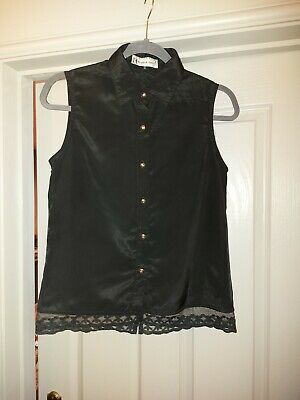 £3.99 • Buy Hearts And Bows Silky Black Sleeveless Blouse Lace Trim Size 10, Gold Buttons