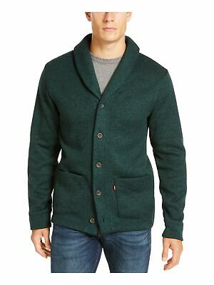 $15.99 • Buy LEVI'S Mens Green Heather Long Sleeve Classic Fit Button Down Knit Sweater S