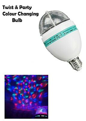 £5.49 • Buy LED Rotating Disco Light Bulb RGB Projector Multi Coloured Screw Party Lamp