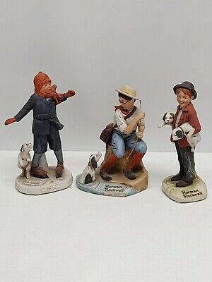 $ CDN31.71 • Buy Lot Of 3 Norman Rockwell Figurines Thin Ice The Catch & Pals 5.5