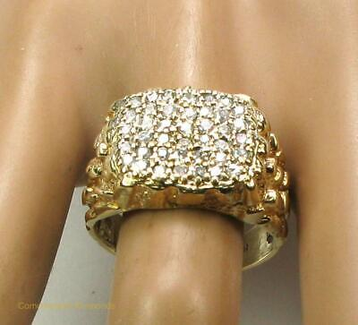 $795 • Buy Men's Diamond Cocktail Cluster Nugget Ring 1.0CT SI2 10K Yellow Gold Size 8.25