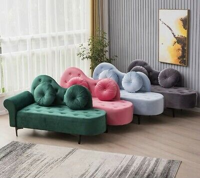 AU499 • Buy Chaise Lounge Chair Day Bed Velvet Fabric 1.4M Bedroom Bench 8 Colours