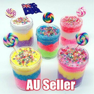 AU11.08 • Buy 5 Color Candy Bead Cloud Slime Puff Fluffy Mud Stress Relief Kids Clay Toy NW