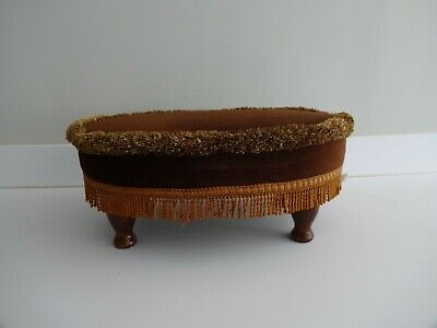 £22.99 • Buy Vintage Sherborne Oval Foot Stool/Seat Wooden Legs-Brown Fabric 7  High