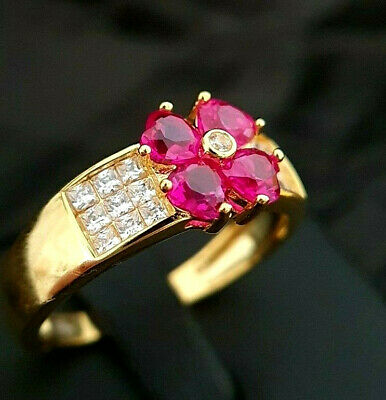 £17.95 • Buy Ladies 925 Sterling Silver Yellow Gold Simulated Ruby Diamond Flower Ring Size Q