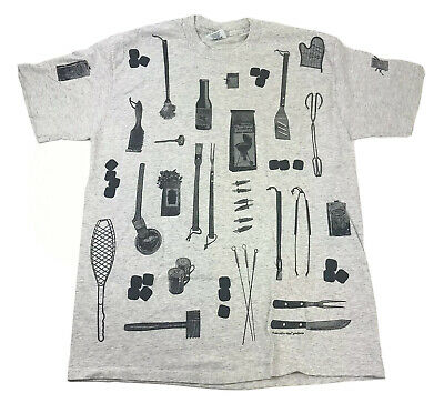 £65.79 • Buy Vintage Rel-e-vant Products Mens T Shirt XL Grilling BBQ All Over Print 90s Rare