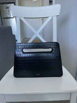 AU150 • Buy Oroton Stella Black Croc Emboss Leather Clutch With Crossbody Strap - RRP $299