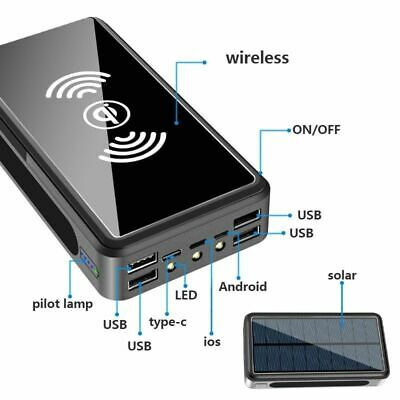 AU41.96 • Buy 80000mAh Power Bank Solar Or Wireless Portable Phone Fast Charging 4 USB Charger