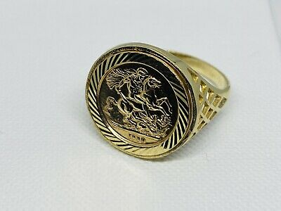 £159 • Buy 375 Solid 9ct Genuine Yellow Gold St George Sovereign Coin Ring 18mm Size S
