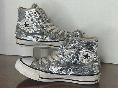 £17.17 • Buy Silver Sequin Converse All Star High Top Sneakers Shoes 557924C Size 5 Women's
