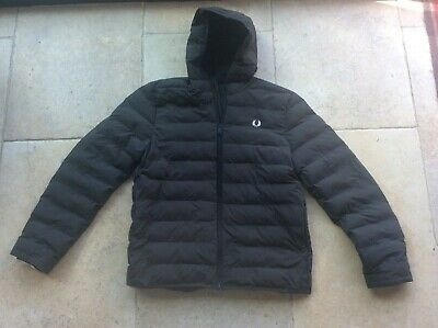 £59.99 • Buy Mens Black FRED PERRY Hooded Puffa Coat Quilted Puffer Jacket Hoodie Large