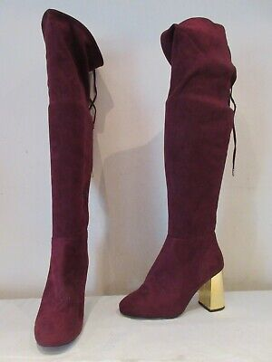 £12.75 • Buy New Look Burgundy Wine Stretch Over Knee Pull On Boots Uk 5 Eu 38 (a3)