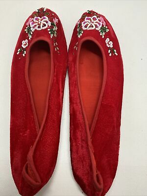 £3.99 • Buy Chinese Handmade Embroidered Floral Velvet Womens Slippers Indoor Shoes Size 38