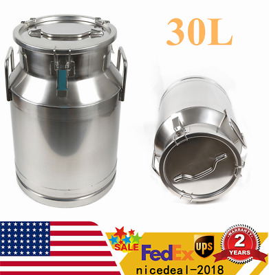 $102.12 • Buy Heavy-gauge Stainless Steel Milk Can Bucket 30L Pail Farm Dairy Can USA Shipping