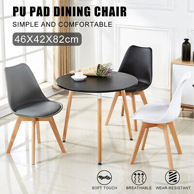 AU85.19 • Buy 2x Dining Chairs Padded Seat Kitchen Table Chair Plastic Wood Retro Lounge Room