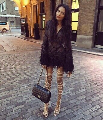 £165 • Buy £320 The Dolls House Penelope Black Sequin Feather V Plunge Fitted Dress L 10