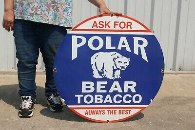 $ CDN278.84 • Buy Large Polar Bear Chewing Tobacco General Store Gas Oil 30  Porcelain Metal Sign