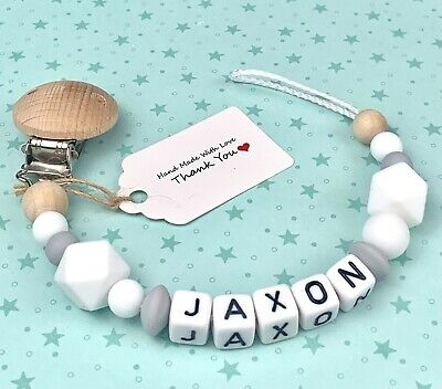 £7.75 • Buy Personalised Baby Dummy Clip Pacifier Chain Soother Holder Cute Baby Shower Gift